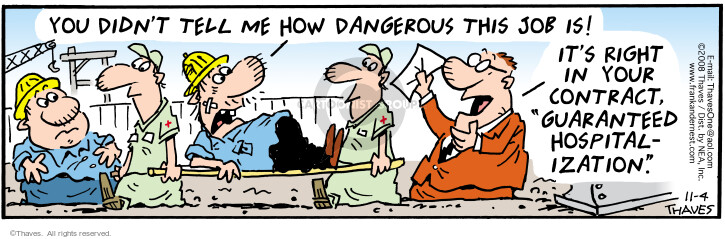 Comic Strip Bob Thaves Tom Thaves  Frank and Ernest 2008-11-04 construction management