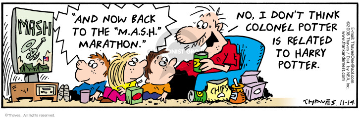 Comic Strip Bob Thaves Tom Thaves  Frank and Ernest 2008-11-14 relative