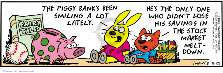 Comic Strip Bob Thaves Tom Thaves  Frank and Ernest 2008-11-22 savings