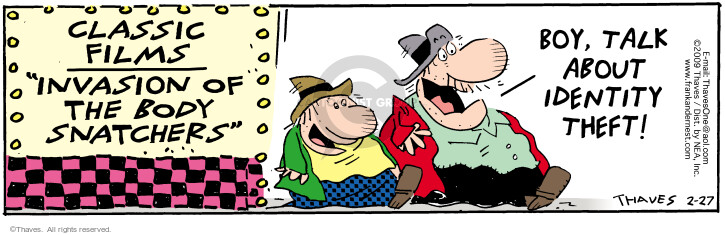 Comic Strip Bob Thaves Tom Thaves  Frank and Ernest 2009-02-27 invasion