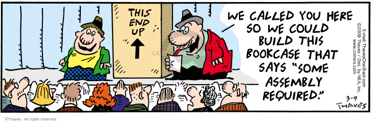 Comic Strip Bob Thaves Tom Thaves  Frank and Ernest 2009-03-09 meeting