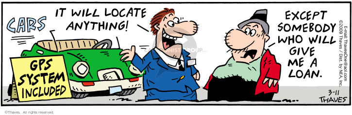 Comic Strip Bob Thaves Tom Thaves  Frank and Ernest 2009-03-11 automobile dealership