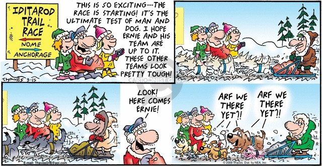 Comic Strip Bob Thaves Tom Thaves  Frank and Ernest 2009-03-15 dog racing