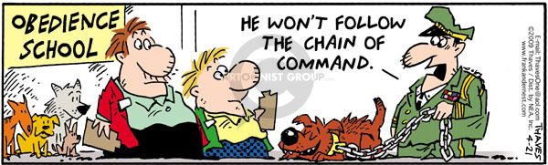 Comic Strip Bob Thaves Tom Thaves  Frank and Ernest 2009-04-21 leash