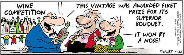Comic Strip Bob Thaves Tom Thaves  Frank and Ernest 2009-04-22 wine