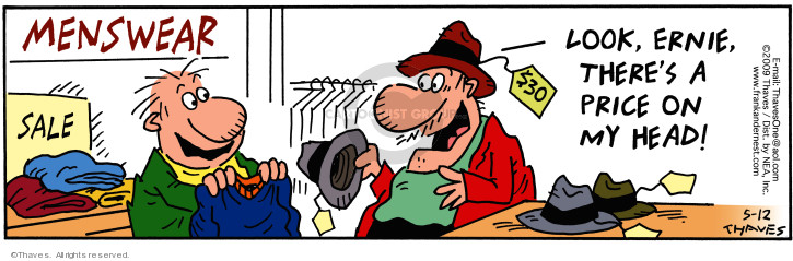 Comic Strip Bob Thaves Tom Thaves  Frank and Ernest 2009-05-12 sale