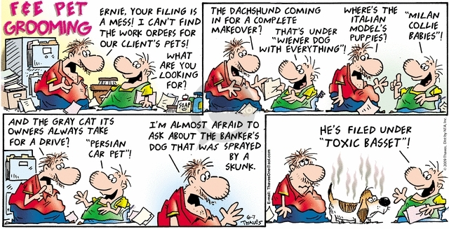 Cartoonist Bob Thaves Tom Thaves  Frank and Ernest 2009-06-07 puppy dog