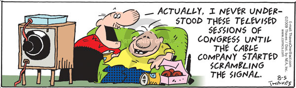 Comic Strip Bob Thaves Tom Thaves  Frank and Ernest 2009-08-05 signal
