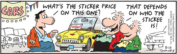 Comic Strip Bob Thaves Tom Thaves  Frank and Ernest 2009-08-15 automotive sales