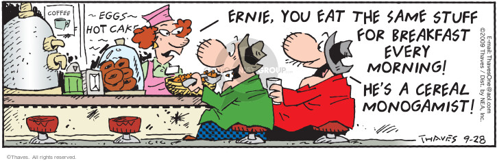 Cartoonist Bob Thaves Tom Thaves  Frank and Ernest 2009-09-28 egg