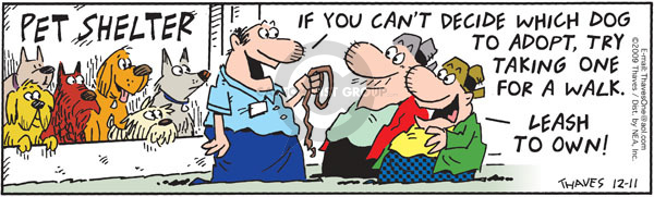 Comic Strip Bob Thaves Tom Thaves  Frank and Ernest 2009-12-11 leash