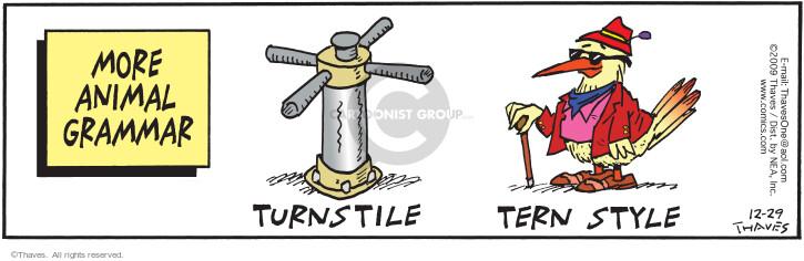 More Animal Grammar.  Turnstile.  Tern style.