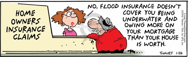 Home Owners Insurance Claims.  No, flood insurance doesnt cover you being underwater and owing more on your mortgage that your house is worth.