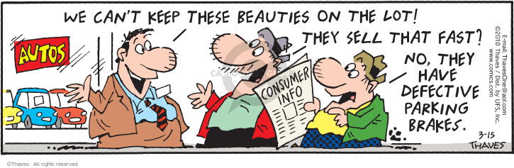 Comic Strip Bob Thaves Tom Thaves  Frank and Ernest 2010-03-15 automobile dealership