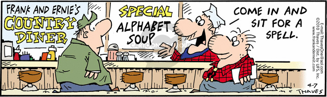Comic Strip Bob Thaves Tom Thaves  Frank and Ernest 2010-04-07 alphabet