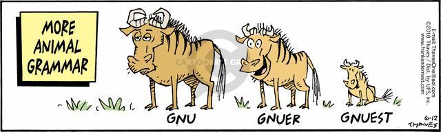 More animal grammar.  Gnu.  Gnuer.  Gnuest.