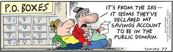 Comic Strip Bob Thaves Tom Thaves  Frank and Ernest 2010-07-07 savings