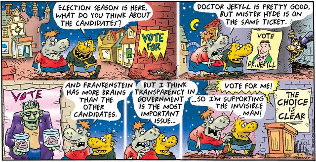 Comic Strip Bob Thaves Tom Thaves  Frank and Ernest 2010-09-05 election