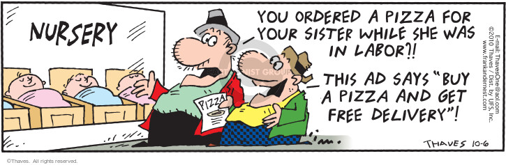 Comic Strip Bob Thaves Tom Thaves  Frank and Ernest 2010-10-06 pizza