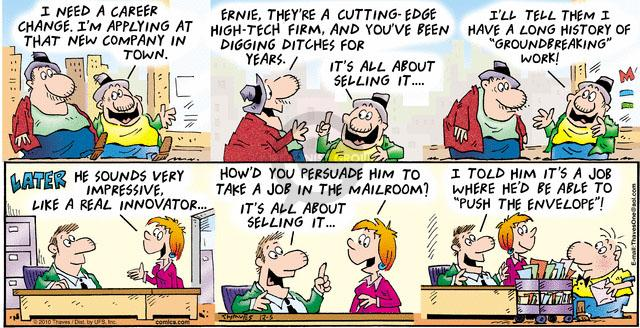 Comic Strip Bob Thaves Tom Thaves  Frank and Ernest 2010-12-05 career change
