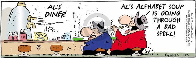 Comic Strip Bob Thaves Tom Thaves  Frank and Ernest 2011-01-20 alphabet