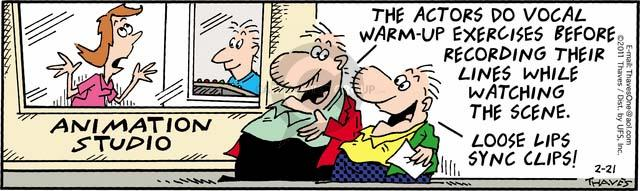 Comic Strip Bob Thaves Tom Thaves  Frank and Ernest 2011-02-21 voice