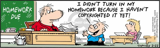 Comic Strip Bob Thaves Tom Thaves  Frank and Ernest 2011-02-22 homework