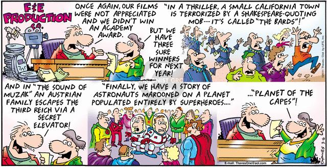 Comic Strip Bob Thaves Tom Thaves  Frank and Ernest 2011-03-06 superhero movie