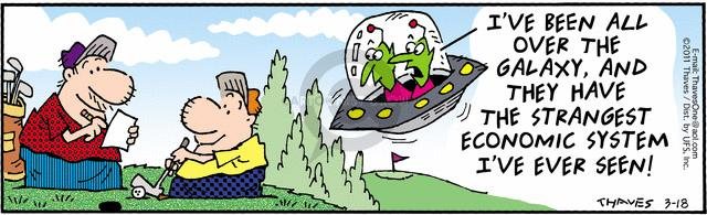 Comic Strip Bob Thaves Tom Thaves  Frank and Ernest 2011-03-18 extraterrestrial