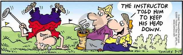 Comic Strip Bob Thaves Tom Thaves  Frank and Ernest 2011-03-19 golf swing