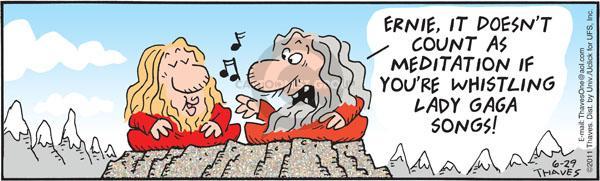 Cartoonist Bob Thaves Tom Thaves  Frank and Ernest 2011-06-29 meditation