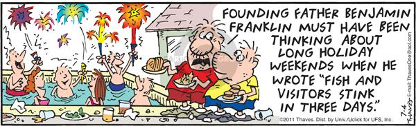 Cartoonist Bob Thaves Tom Thaves  Frank and Ernest 2011-07-04 smell
