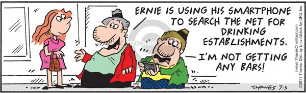 Comic Strip Bob Thaves Tom Thaves  Frank and Ernest 2011-07-05 signal