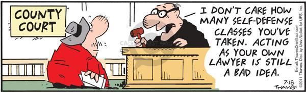 Comic Strip Bob Thaves Tom Thaves  Frank and Ernest 2011-07-18 legal defense