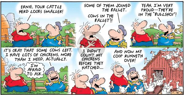 Cartoonist Bob Thaves Tom Thaves  Frank and Ernest 2011-07-17 chicken