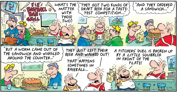 Comic Strip Bob Thaves Tom Thaves  Frank and Ernest 2011-07-31 baseball pitcher