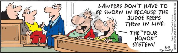 Comic Strip Bob Thaves Tom Thaves  Frank and Ernest 2011-08-03 legal system
