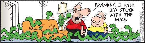 Comic Strip Bob Thaves Tom Thaves  Frank and Ernest 2011-08-13 reptile