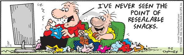 Comic Strip Bob Thaves Tom Thaves  Frank and Ernest 2011-09-02 eat