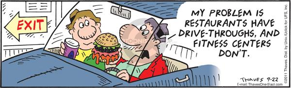 Comic Strip Bob Thaves Tom Thaves  Frank and Ernest 2011-09-22 fast food hamburger