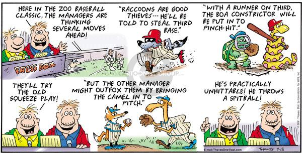 Comic Strip Bob Thaves Tom Thaves  Frank and Ernest 2011-09-18 baseball pitcher
