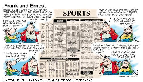 Comic Strip Bob Thaves Tom Thaves  Frank and Ernest 2000-01-02 watch sports