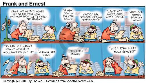Comic Strip Bob Thaves Tom Thaves  Frank and Ernest 2000-02-06 criticism