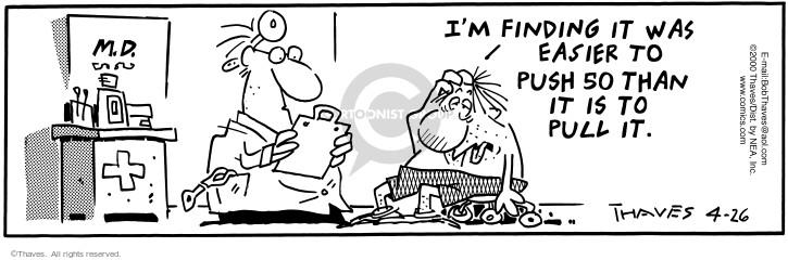 Comic Strip Bob Thaves Tom Thaves  Frank and Ernest 2000-04-26 endurance