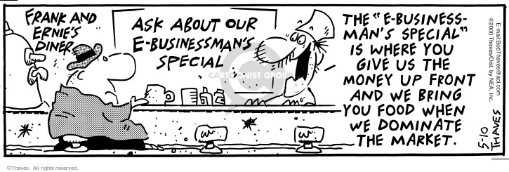 Comic Strip Bob Thaves Tom Thaves  Frank and Ernest 2000-05-10 invest