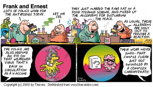 Comic Strip Bob Thaves Tom Thaves  Frank and Ernest 2000-05-28 vaccine