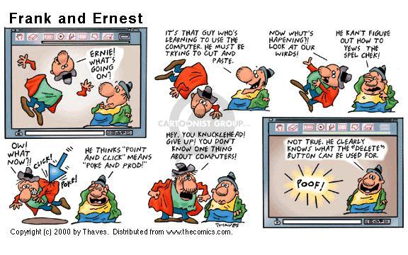 Comic Strip Bob Thaves Tom Thaves  Frank and Ernest 2000-06-25 computer monitor
