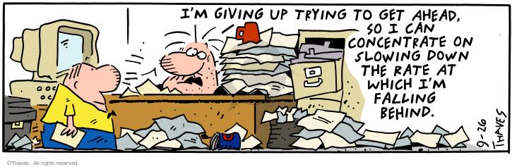 Comic Strip Bob Thaves Tom Thaves  Frank and Ernest 2000-09-26 desk