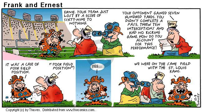 Comic Strip Bob Thaves Tom Thaves  Frank and Ernest 2000-12-03 football pass