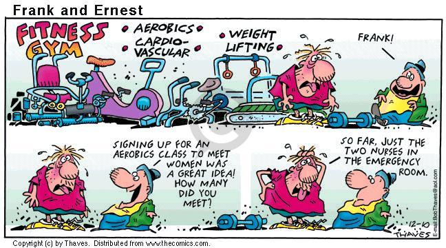 Comic Strip Bob Thaves Tom Thaves  Frank and Ernest 2000-12-10 weightlifting